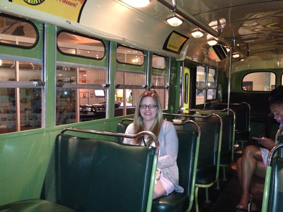 Here's a picture of me sitting in the Rosa Parks bus, in the same seat she sat in!